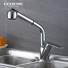 LEDEME Съемный кухонный кран с одной ручкой выдвижной двухфункциональный опрыскиватель латунный Смеситель для воды кран, хром полированный L6040