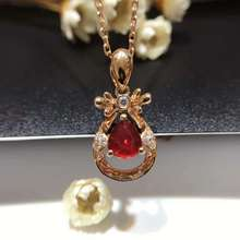18K Gold 0 778ct Natural Ruby and Pendant Necklace 0 123ct Diamond inlaid 2016 Factory Direct