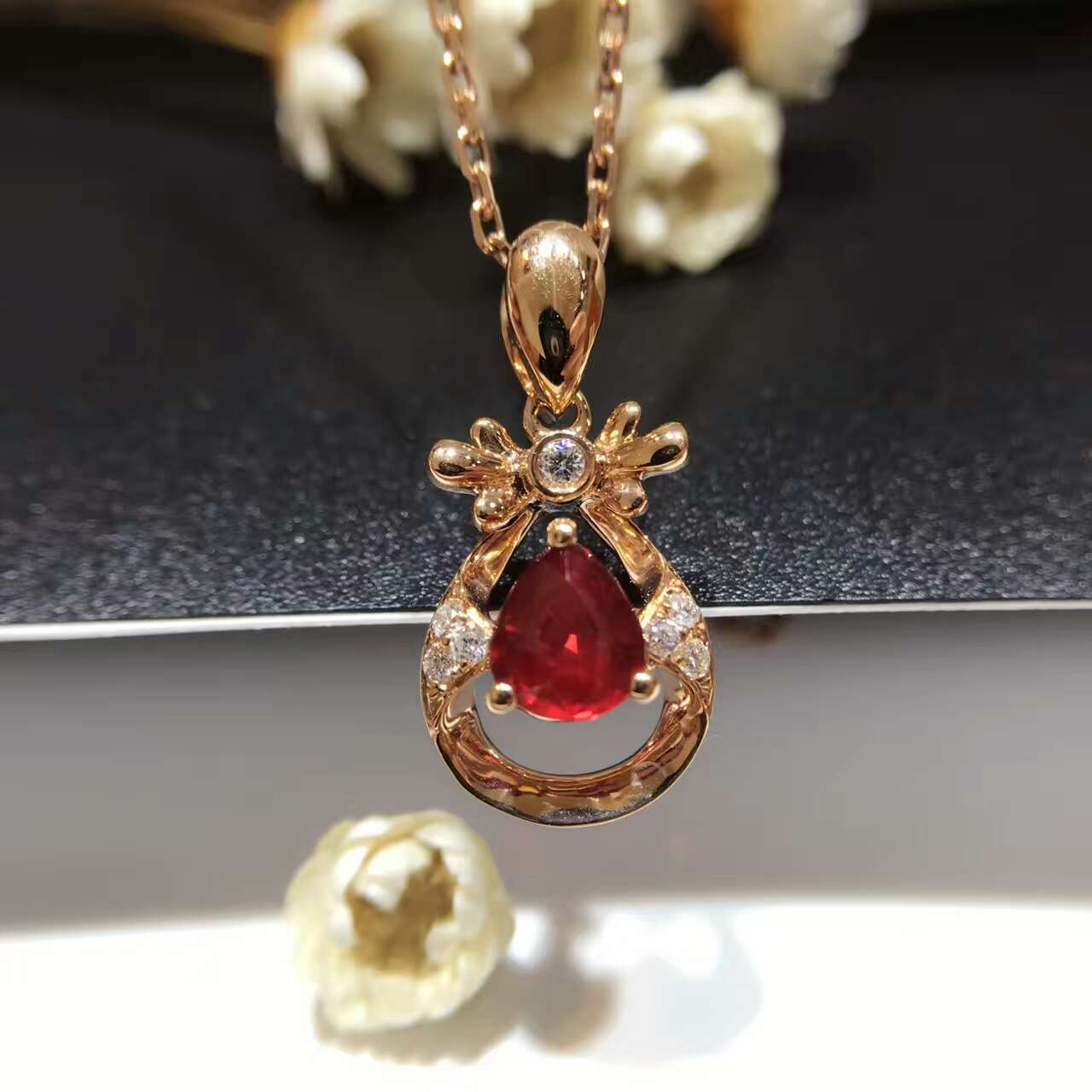 18K Gold 0 778ct Natural Ruby and Pendant font b Necklace b font 0 123ct font