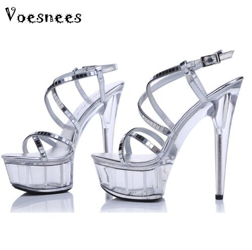 Women Shoes Summer Sexy Sandals Non-slip  Waterproof Nightclub 15cm High ShoesT Station Catwalk Crystal High-heeled Size 34-44 euro size 34 44 pu woman 15 and 17cm high heels platform sandals nightclub woman high heeled birthday party shoes for t station