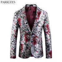 Luxury Bronzing Rose Floral Velvet Blazer Men Slim Fit Single Breasted Suit Blazer Jacket Men Wedding Groom Party Stage Costumes