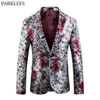 Luxury Bronzing Rose Floral Velvet Blazer Men Slim Fit Single Breasted Suit Blazer Jacket Men Wedding Groom Party Stage Costumes