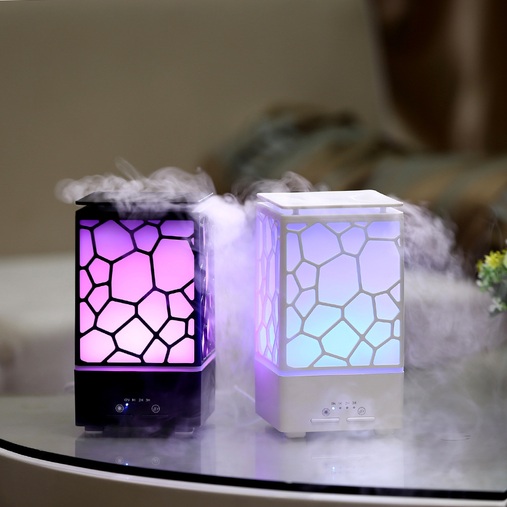 200ML Water Cube Design Aroma Essential Oil Diffuser Colorful LED Light Air Humidifier Ultrasonic Technology Mist Maker With 3 Timer Sets