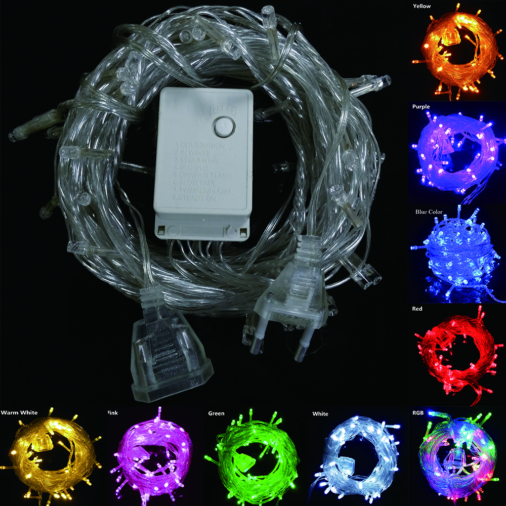 Connectable Outdoor Lights: 9 colors connectable LED Christmas lights indoor outdoor decoration 10M 50  leds Led String Lights US EU AU plug fairy Lights,Lighting