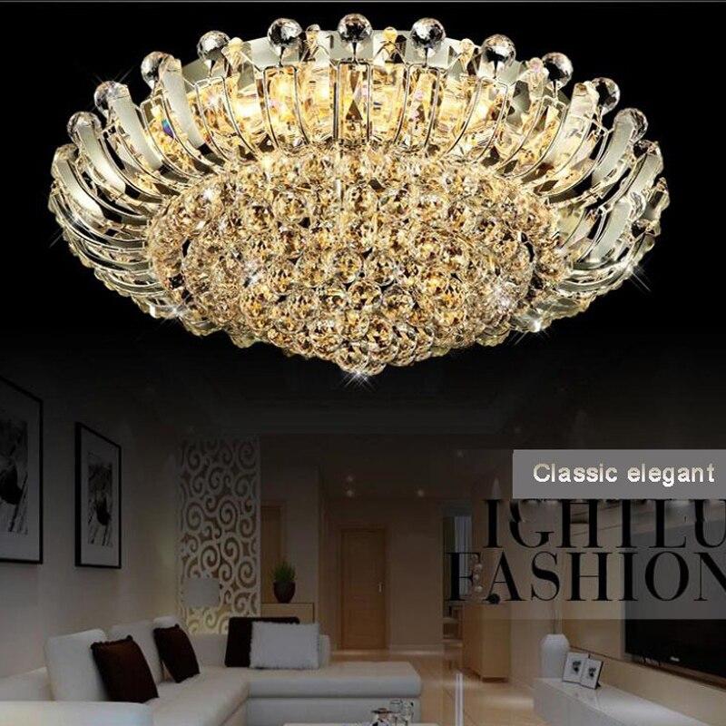 Modernos lustres de Cristal Luxuoso flush mount led lustres de cristal do teto Luminária de iluminação com controle remoto