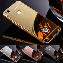HC01 For Huawei P8 Lite / P8 mini P7 P8 Huawei P9 G7 G8 P9 lite Case Luxury Plating Aluminum Metal Frame + Mirror Acrylic Cover