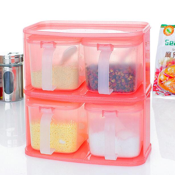 Kitchen Storage Containers Seasoning Box Set Combination Plastic E Jar With Spoon Cooking Tools Bottle