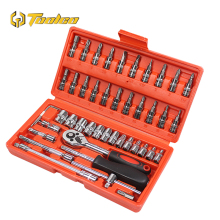 Toolgo 46Pcs 1/4 inch Screwdriver Spanner Socket Set Ratchet Wrench Set Car Repair Tools Combination Repairing Hand Tool hot selling 23 53pcs spanner socket set 1 4 car repair tool ratchet wrench set cr v hand tools combination bit set tool kit