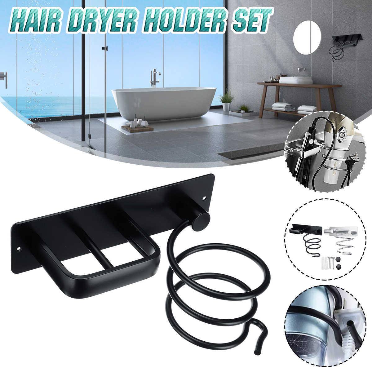 Alumini настенный Фен держатель Подставка для ванной комнаты отель полки хранения Фен Вешалка-держатель