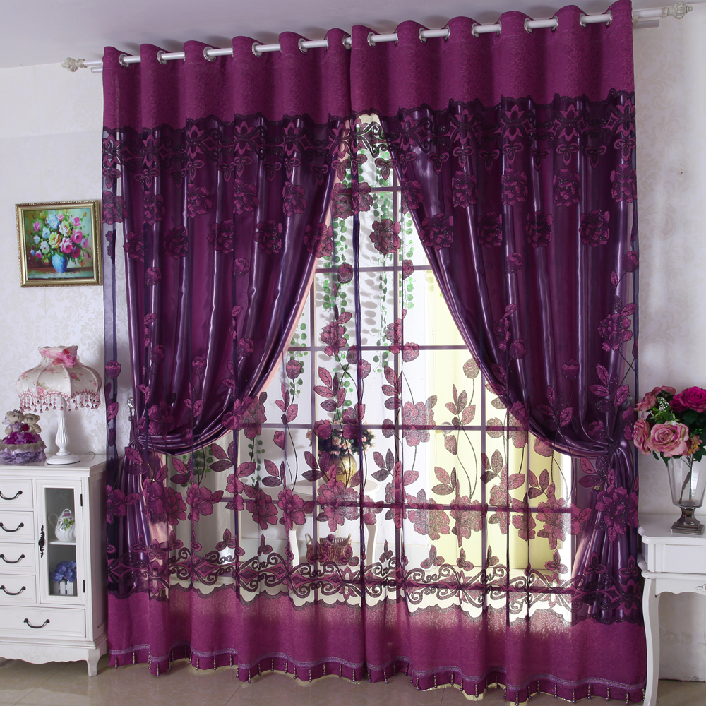 Luxury modern flowers curtain tulle window set of blackout
