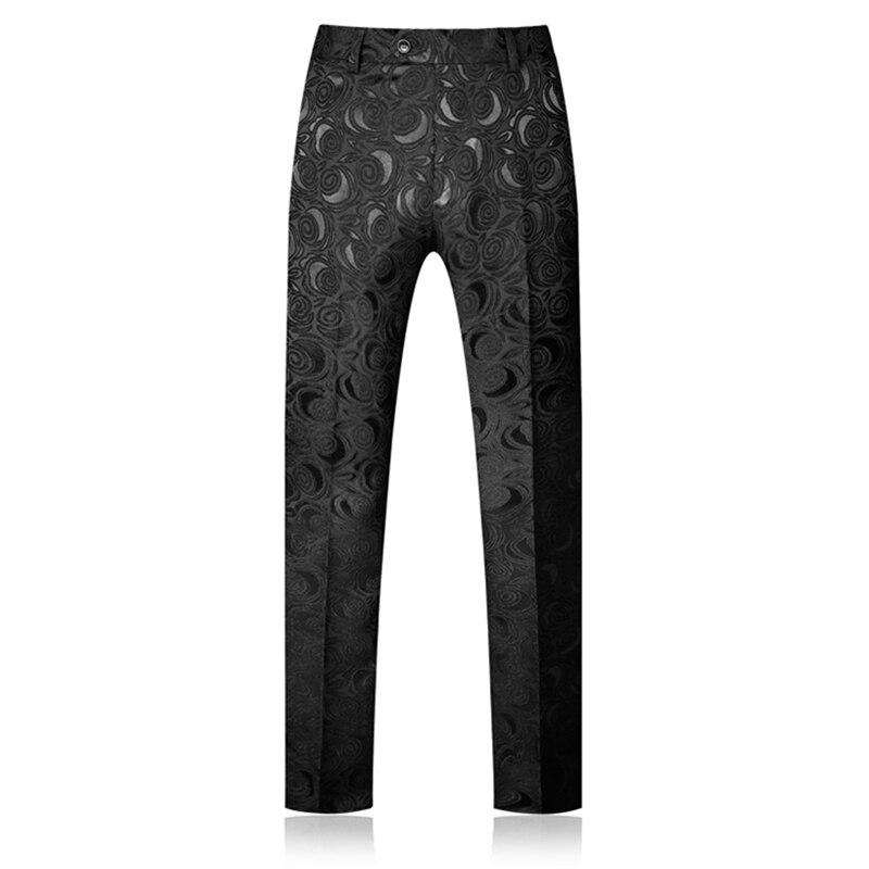 High Quality Men Pant Jacquard Fabric  Mens Dress Pants Asia Size  S - 5XL White And Black Pants Men