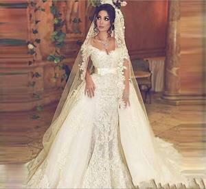 Image 2 - Дубай Русалка Свадебные платья со съемной юбкой женские События платье для свадьбы Жемчуг Кружева Свадебные платья Милая