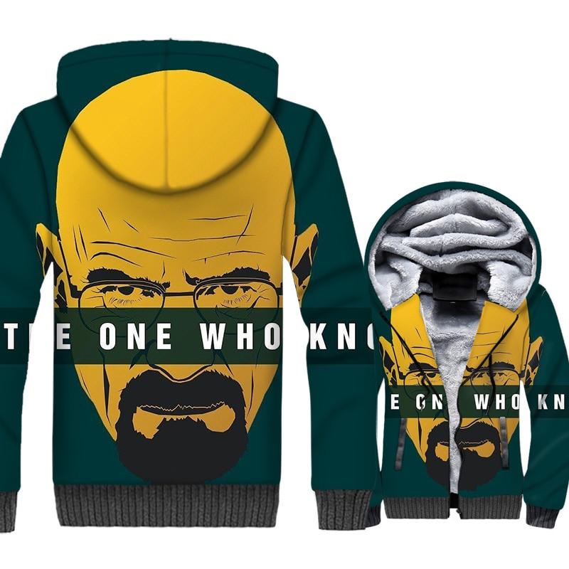 Fashion Breaking Bad Jacket Men 2018 Winter Thick Zipper Hoodies Male Harajuku Top TV Funny Coat Green Yellow Outwear Sweatshirt