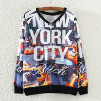 2017 Autumn Winter Style Sweatshirt Women Fashion Casual Printing Letters New York Print Long Sleeve Zipper Cool Hoodies