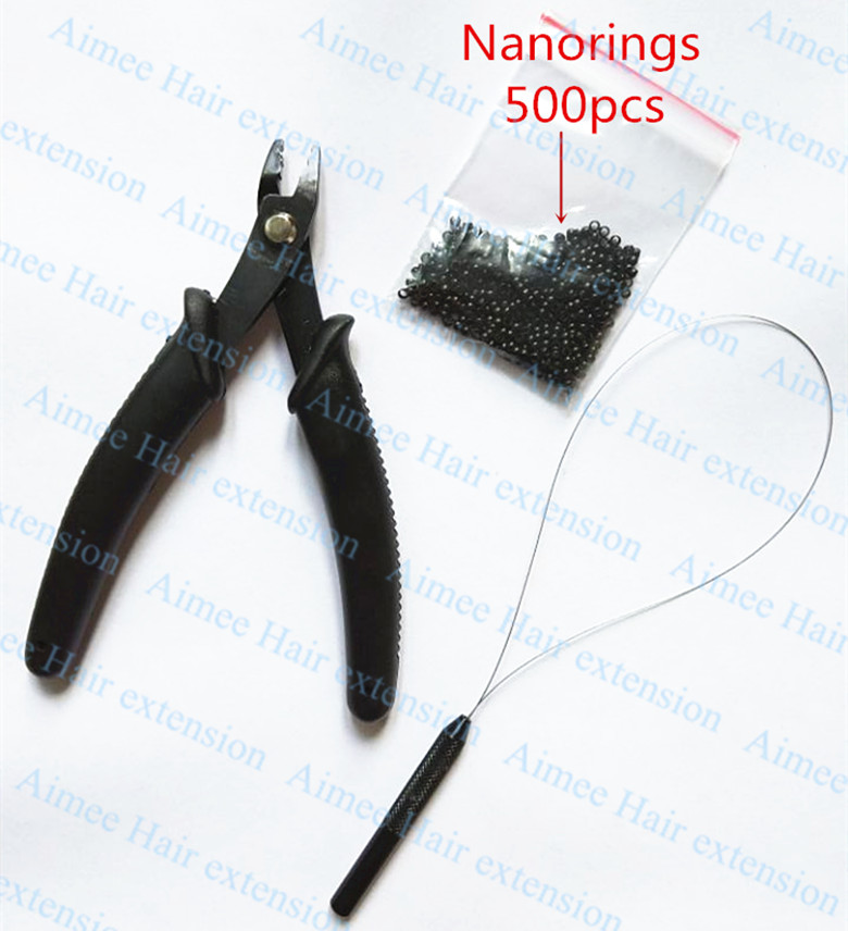 500pcs Nano rings+1pcs Nano plier+1 pcs NanoRings wooden needle for NanoRings hair extension tool kits