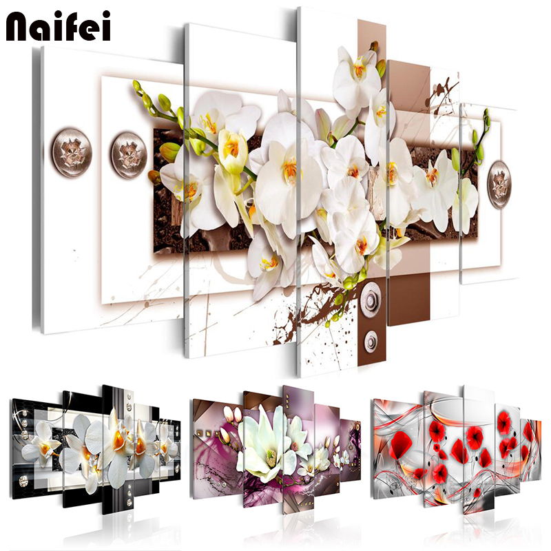 5pcs Diamond Painting 3D Orchid flower Diamond Embroidery sale 5D DIY Cross Stitch Diamond Mosaic Full