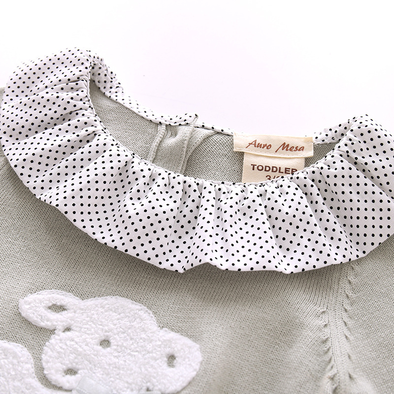 New Spring Autumn Baby Rompers Baby Girl Knitted Lotus Collar Animal ...