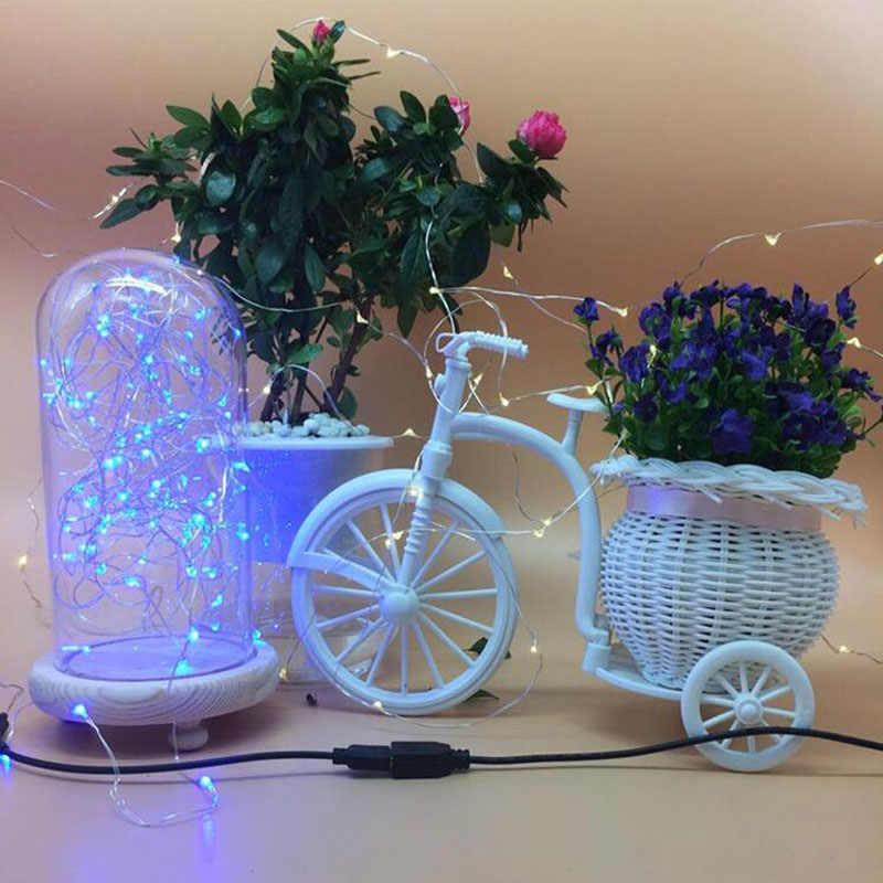 DC 5 ボルト 5 メートル 10 メートル USB 充電 LED ストリップライト Usb 電源 RGB 銅線テープ休日の文字列照明屋外妖精クリスマスツリー