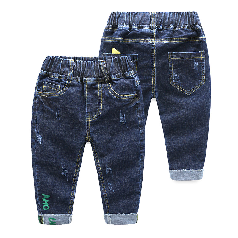 2018 Spring Autumn New 2-12 Years Teenage Student Elastic Letter Child Trousers Baby Long Pants Denim Blue Kids Jeans For Boys