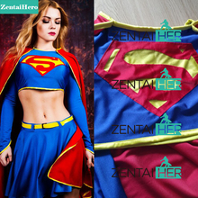 Free Shipping DHL NEW Sexy Two Pieces Female Superman Costume Movie Costume Lycra Supergirl Fancy Dress For Halloween SPM1715