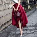 Осень Зима Женщин Сексуальный черный Красный Готический Конькобежец Юбка Элегантный винтаж короткий передний долго назад офис Высокой талией Юп Saia