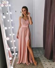 Pink Long Ladies Prom Dresses 2019 Spaghetti Straps Satin Lace Appliques Crystal High Front Split Sweep Train Evening Gowns