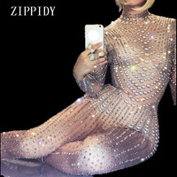 Sexy Sparkly Pearls Jumpsuits Rhinestones Stretch Bodysuit Performance Party Celebrate luxurious Shining Costume Outfit Wear