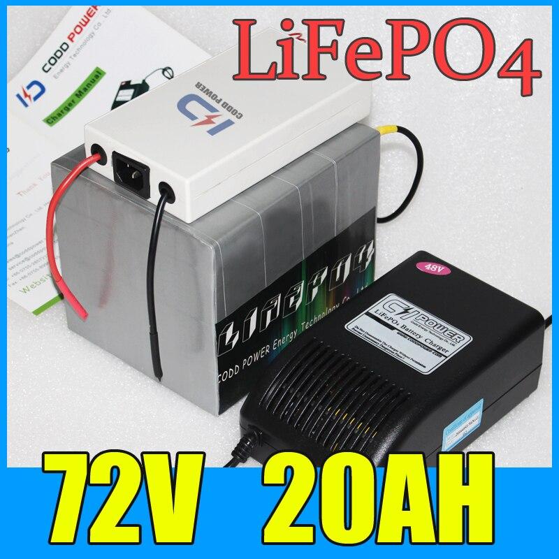 72 V 20AH LiFePO4 Batterie Pack, 1500 W vélo Électrique Scooter batterie au lithium + BMS + Chargeur, livraison Gratuite