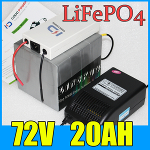 72V 20AH LiFePO4 Battery Pack ,1500W Electric bicycle Scooter lithium battery + BMS + Charger , Free Shipping