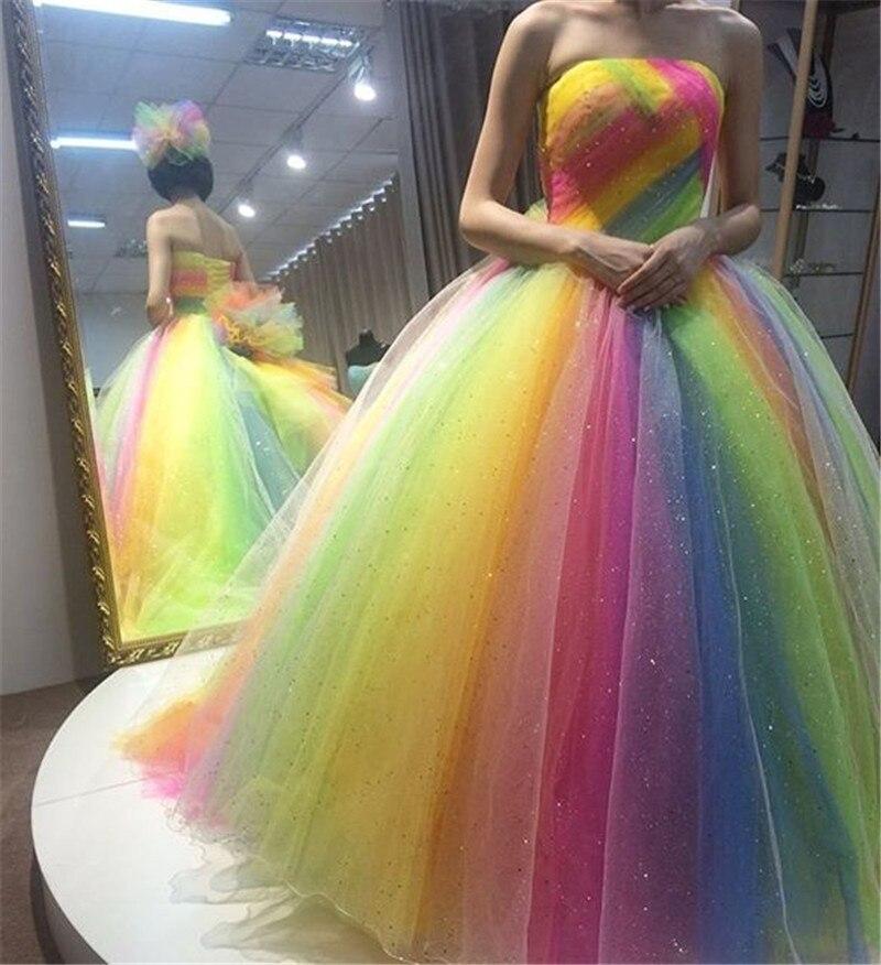 Newest Rustic Civil Rainbow Wedding Bridal Dress Gowns