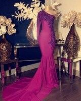 Длинное платье для выпускного вечера es 2019 фуксия с аппликацией из бисера кружевное платье на одно плечо с длинным рукавом фуксия Русалка пл