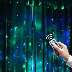 300 светодиодный занавес водонепроницаемый пульт дистанционного управления USB медный провод задний фон декоративные фонари