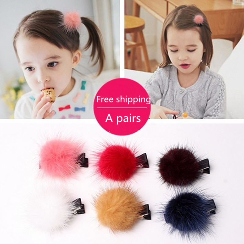 Free shipping Sweet Cute Girls New Plush Hairpins Ornaments Headdress Tiara Hair Clip New Charm Kids Baby Ball Barrette Accessor