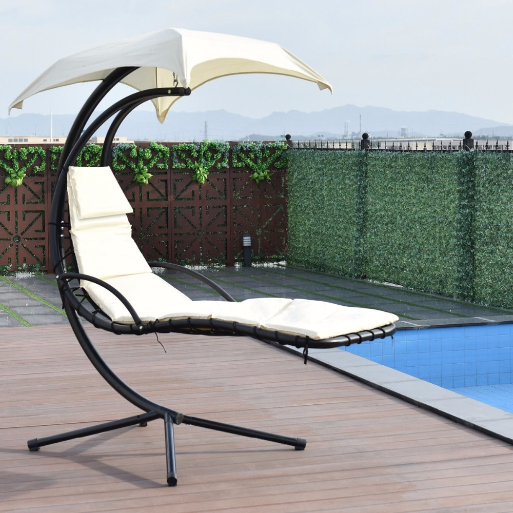 Giantex Hanging Chaise Lounger Chair Arc Stand Swing Hammock Chair Canopy Beige Outdoor Furniture OP3349WH outdoor rattan hammock stand chair with cushions