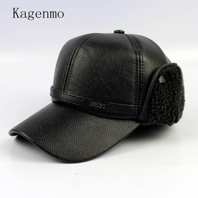 Kagenmo invierno macho sombrero invierno frío hombres mantener caliente oído  gorra de béisbol protección pu cuero 90a8f81ace5