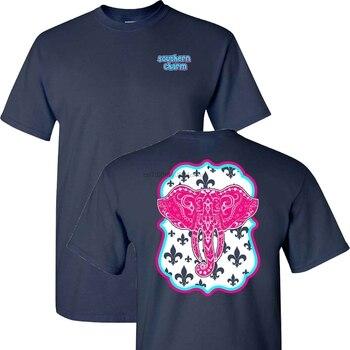 Gran oferta de moda 2019, camiseta de manga corta marino con elefante del Encanto del Sur, camiseta de postura del Sur simple