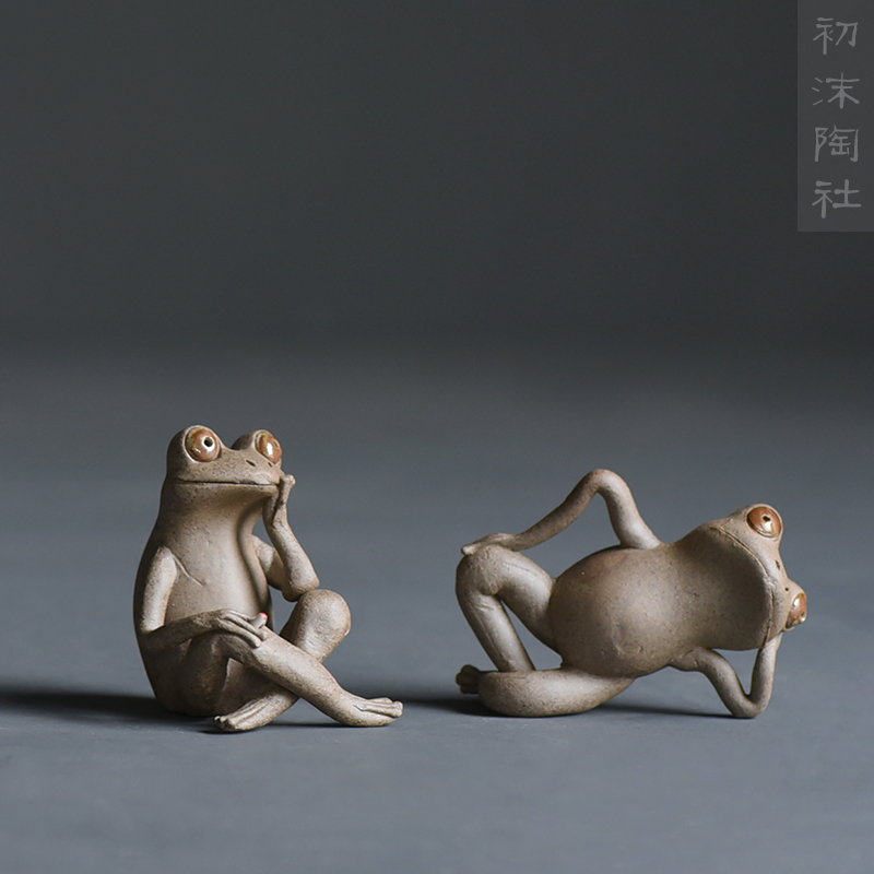 Ceramics Frog Tea pet figurines furnishings Lovely Animal Mini Arts and Crafts fairy garden miniatures home decoration gifts