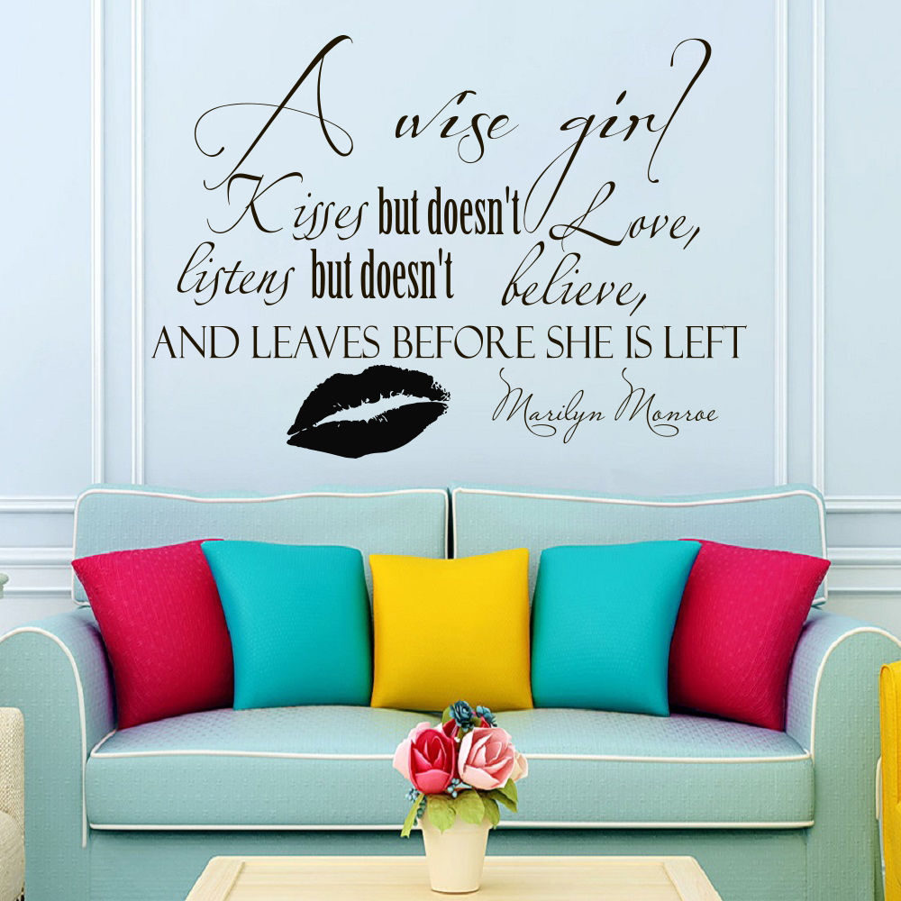 Sofa Quotes Us 7 97 25 Off New Arrivals Wall Decals Quotes A Wise Girl Kisses Marilyn Monroe Decal Vinyl Diy Sticker Sofa Background Art Wall Mural La772 In