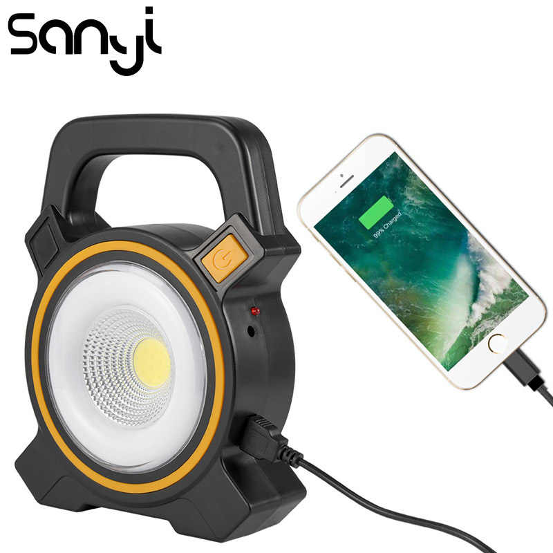 SANYI Handheld Portable Lantern Tent Light USB Rechargeable 30W COB LED Flashlight Solar 2 modes Emergency Work inspection lamp