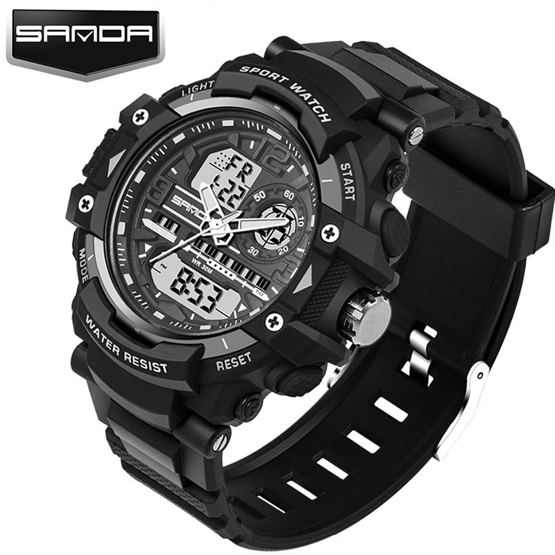 SANDA Military Sport Watch Men Top Brand Luxury Famous Electronic LED Digital Wrist Watch For Men Male Clock Relogio Masculino sport student children watch kids watches boys girls clock child led digital wristwatch electronic wrist watch for boy girl gift