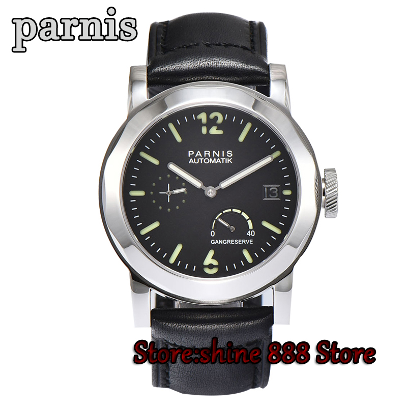 PARNIS Brand Men's Watch Parnis Power Reseerve Luxury Sapphire Crystal Genuine Leather <font><b>ST2530</b></font> Movement Automatic Watch for Men image