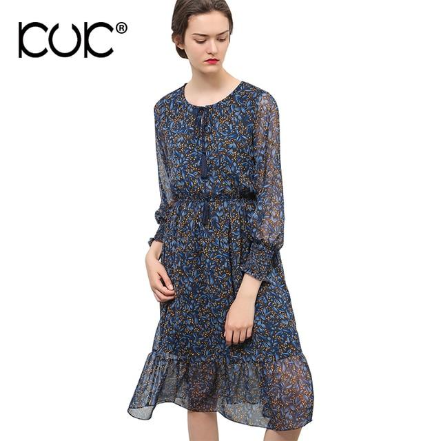 c026e453b0 Kuk Vestido de Chiffon Vestidos de Verão Casual e Elegante Estampa floral  Hippie Boho Chic Beach