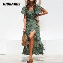 IUURANUS Summer Beach Maxi Dress Women Floral Print Boho Long Chiffon Ruffles Wrap Casual V-Neck Split Sexy Party