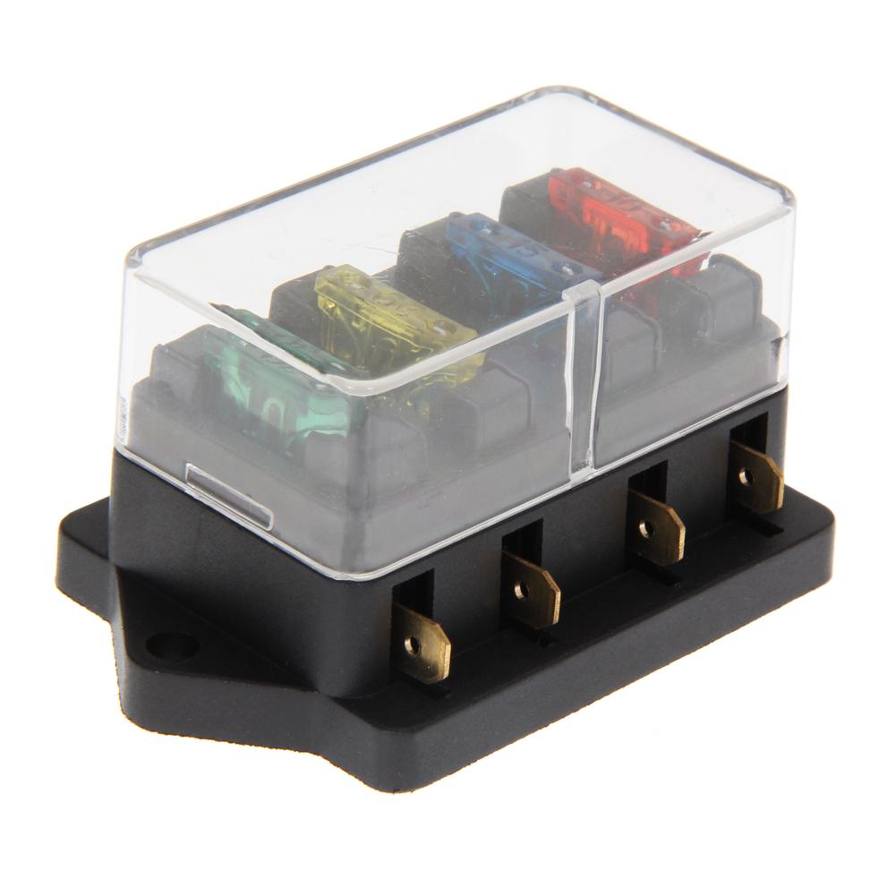 4 way fuse box universal car truck auto 4 way circuit standard blade fuse  build-in box block holder 12v/24v + fuse