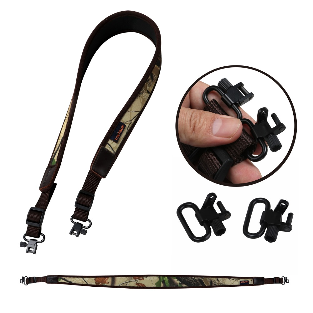 Tourbon Hunting Rifle Shotgun Sling Tactical Carry Shoulder Strap Camo Belt Rubberized Non-slip W/Swivels Gun Accessories(1SET)