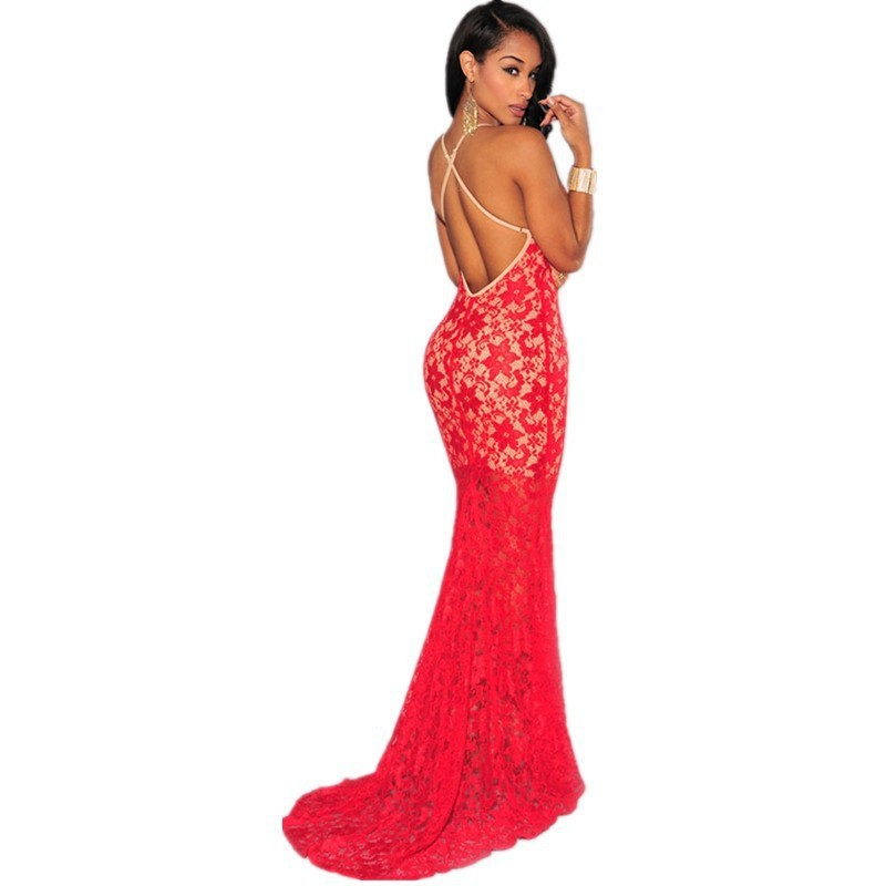 <font><b>Black</b></font> Red <font><b>Women</b></font> Elegant <font><b>Plunging</b></font> <font><b>V</b></font> <font><b>Neck</b></font> Long Robe Mermaid Fishtail Evening Gown <font><b>Lace</b></font> <font><b>Nude</b></font> <font><b>Illusion</b></font> Party Crisscross Maxi Dress