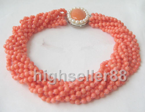 8 strds rouge corail collier rond>>> filles pour femmes bijoux colliers charmes livraison gratuite