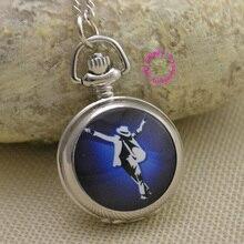 Мода Майкл Джексон кварцевые карманные часы ожерелье девушки женщины fob часы серебряное зеркало белый синий эскиз антибриттл