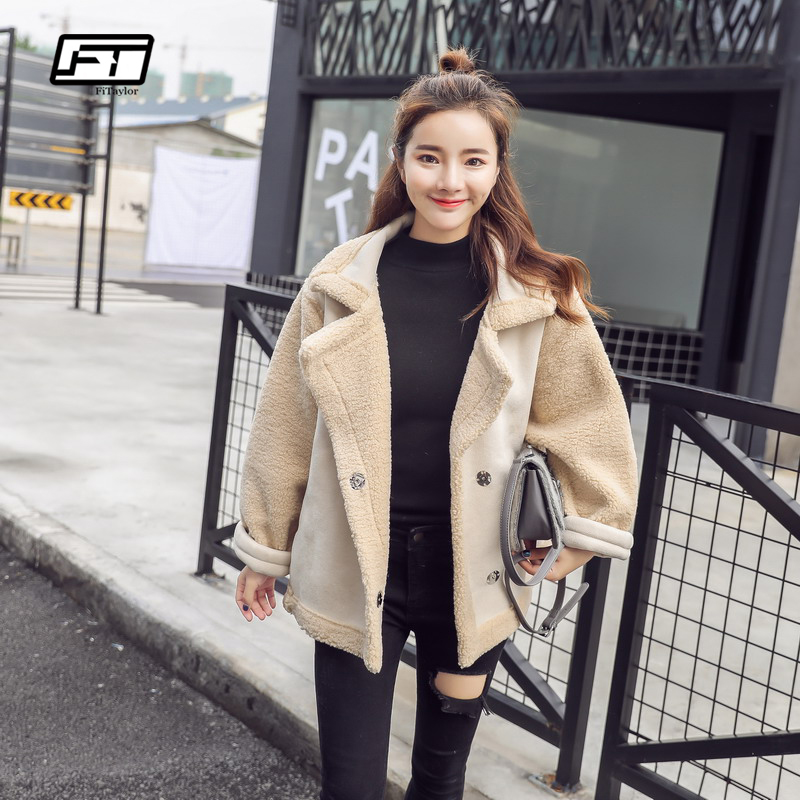 Fitaylor Winter Women Faux   Leather   Lambs Wool Fur Collar   Suede   Jacket Short Coats Female Warm Thick Loose Faux Lamb Outerwear