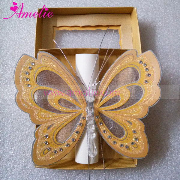 50pcs Lot Handmade Small Size Butterfly Wedding Card Kids Baby Shower Birthday Invitations Cards Favors Gifts